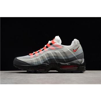 Nike Air Max 95 White/Solar Red-Neutral Grey Men's Running Shoes 609048-106
