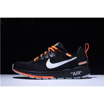 Men's Off-White Virgil Abloh x Nike Air Zoom Structure 21 Black/Orange-White 907324-008