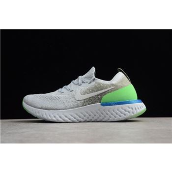 new concept d9b4e 84bed Nike Epic React Flyknit Light Grey Green-Blue Running Shoes AQ0067-008