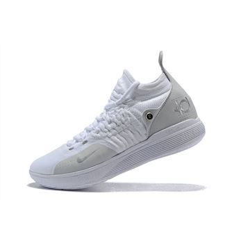 Men's Nike KD 11 White/Chrome-Pure Platinum Basketball Shoes