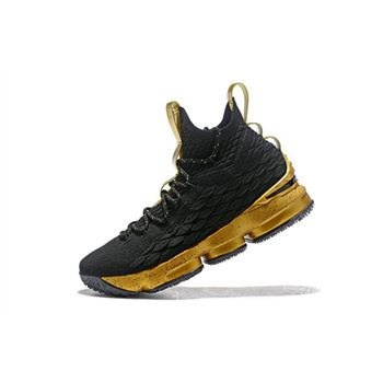 354270b0063b2 Men s Nike LeBron 15 Black Gold Basketball Shoes On Sale