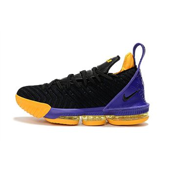 Nike LeBron 16 Black/Purple-Yellow Basketball Shoes For Sale