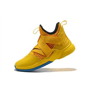 Nike LeBron Soldier 12 Cavs Yellow/Black-Blue Men's Basketball Shoes