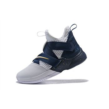 Nike LeBron Soldier 12 XII SFG White/Midnight Navy-Mineral Yellow Basketball Shoes